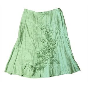 JM Collection Embroidered Plus Size Linen Skirt